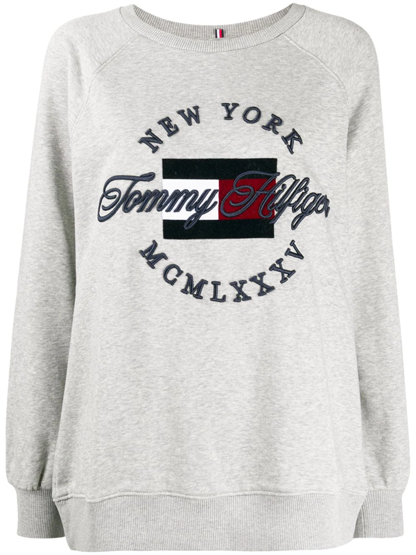 Tommy Hilfiger Embroidered Logo Sweater In Grey