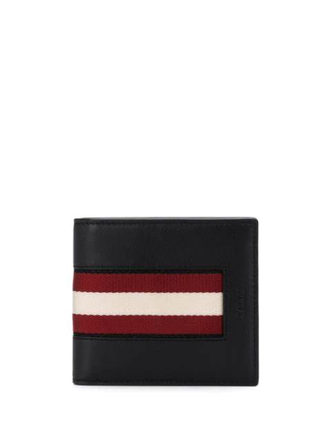 Bally Men's Bevye Stripe Leather Bi-fold Wallet In Black