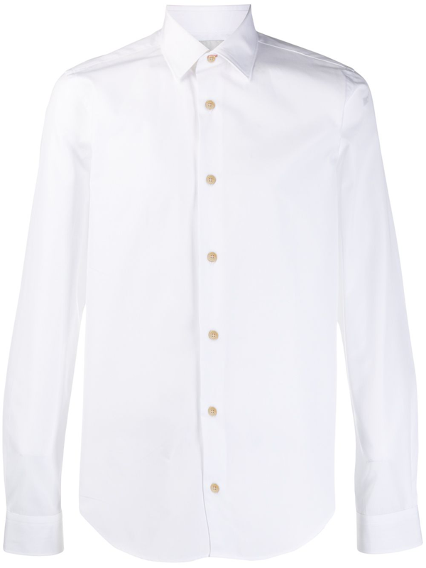 Paul Smith Gents Tailored Shirt Poplin Stretch In White