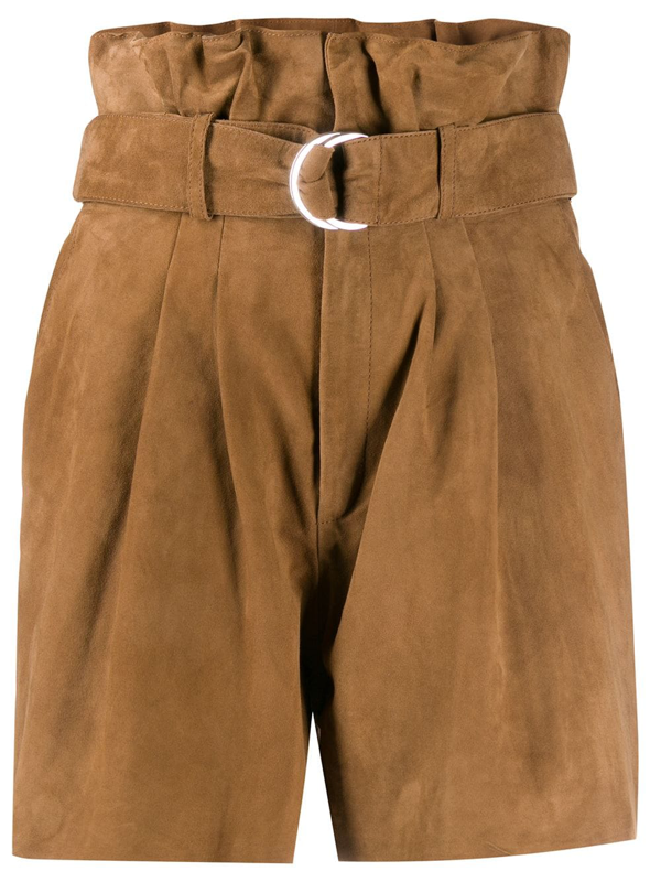P.a.r.o.s.h. Suede Paperbag Waist Shorts In Brown