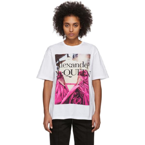 Alexander Mcqueen Logo Print Cotton Jersey T-shirt In 0900 White