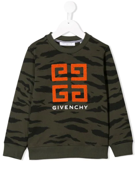 Givenchy Kids' Camo Print Cotton Sweatshirt In Green