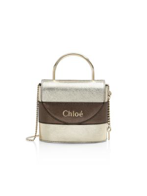 Chloé Women's Small Aby Metallic Leather Top Handle Bag In Neutral