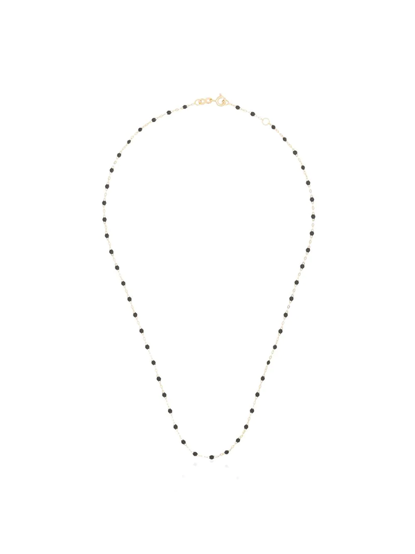Gigi Clozeau 18k Yellow Gold 42 Cm Beaded Necklace In 19 Grey
