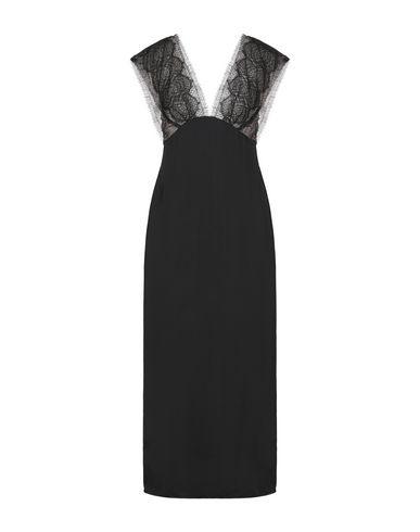Victoria Beckham Lace-paneled Satin Midi Dress In Black