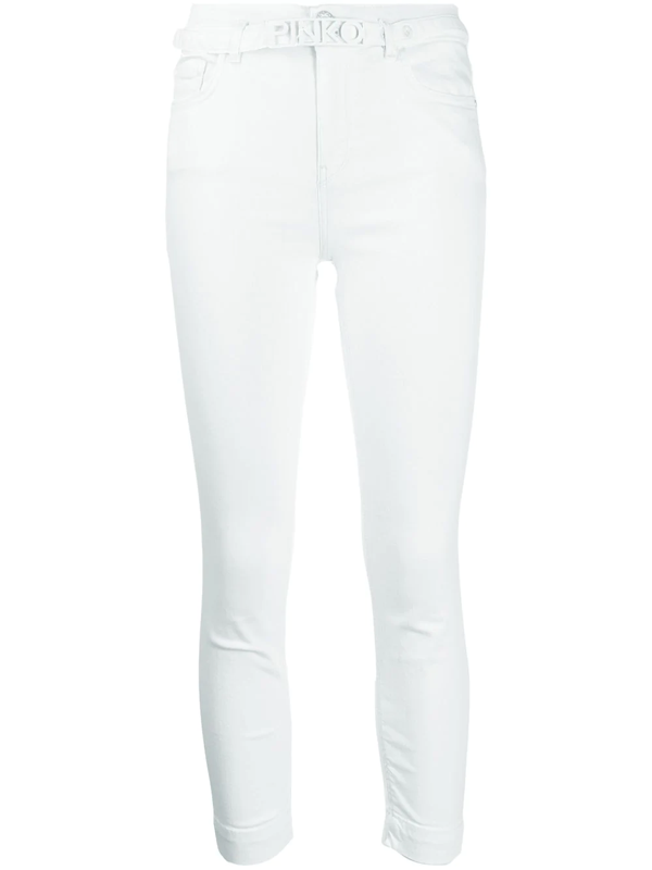 Pinko High Waisted Cropped Skinny Jeans In White