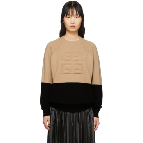 Givenchy Bi-color Intarsia Cashmere Knit Sweater In 007 Beige