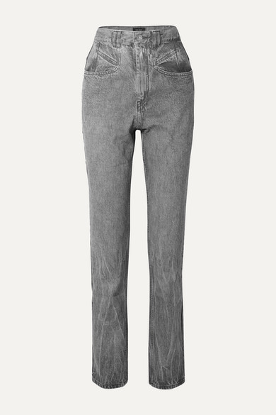 Isabel Marant Orrick Paneled High-rise Slim-leg Jeans In Light Gray