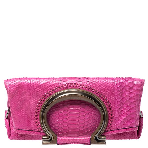 Salvatore Ferragamo Fuchsia Python Foldover Clutch In Pink