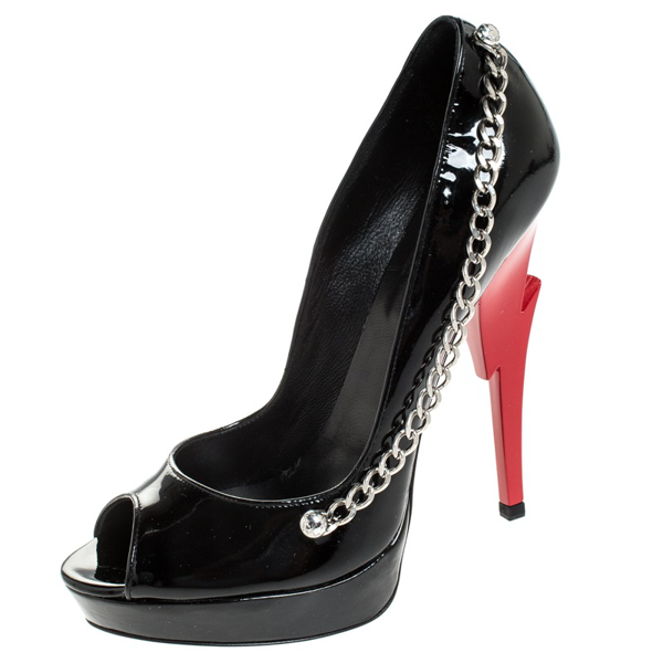 Pre-owned Dsquared2 Black Patent Leather Chain Detail Peep Toe Platform Pumps Size 38