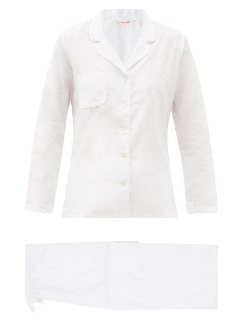Derek Rose Kate Polka Dot-jacquard Cotton Pyjamas In White Multi