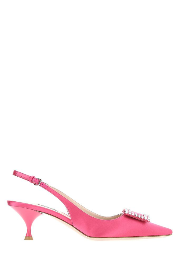 Miu Miu Embellished Pointed Toe Slingback Pumps In F0029