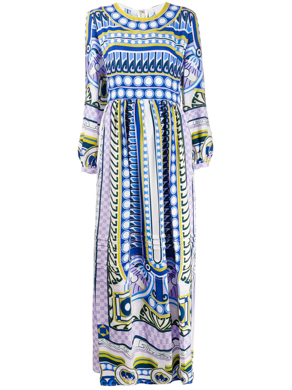 La Doublej Pemberley Printed Satin Maxi Dress In Blue