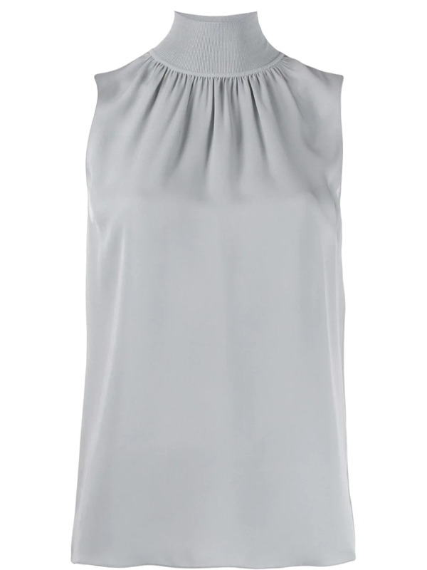 Theory Mock-neck Sleeveless Top In Blue