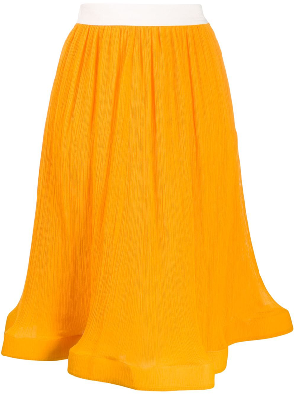 Jw Anderson J.w. Anderson Pleated Mixed Cotton Skirt In Yellow