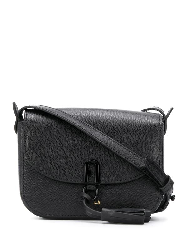 Furla Tassel Applique Shoulder Bag In Black