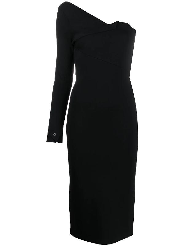 Roland Mouret Roseberry One-shoulder Jersey Midi Dress In Black