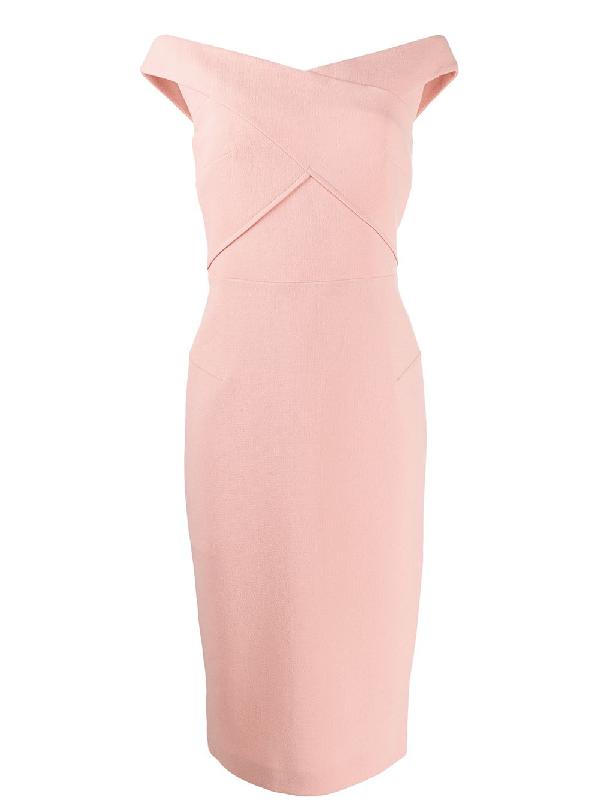 Roland Mouret Amarula Off-the-shoulder Wool-crepe Midi Dress In Pink