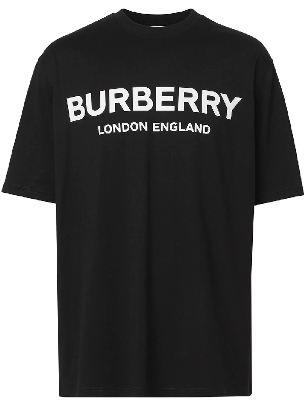 Burberry Letchford Brand-print Cotton-jersey T-shirt In Black