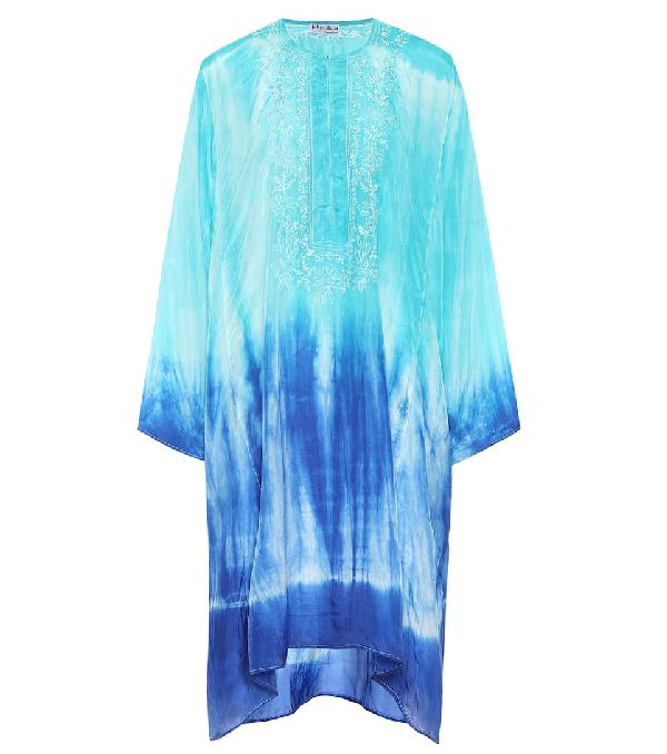 Juliet Dunn Tie-dye Silk Kaftan In Blue