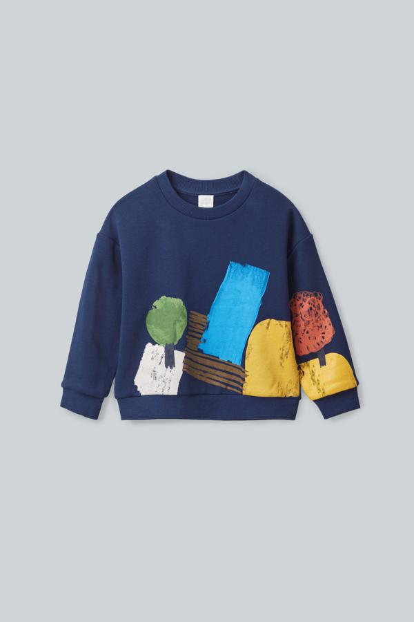 Cos Kids' Printed Cotton Sweatshirt In Blue