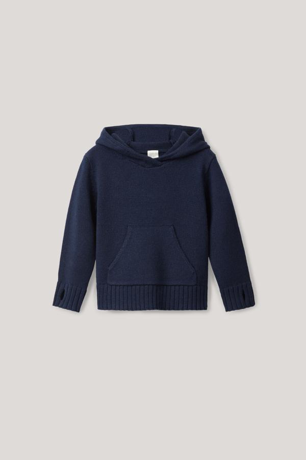 Cos Kids' Knitted Wool Hoodie In Blue