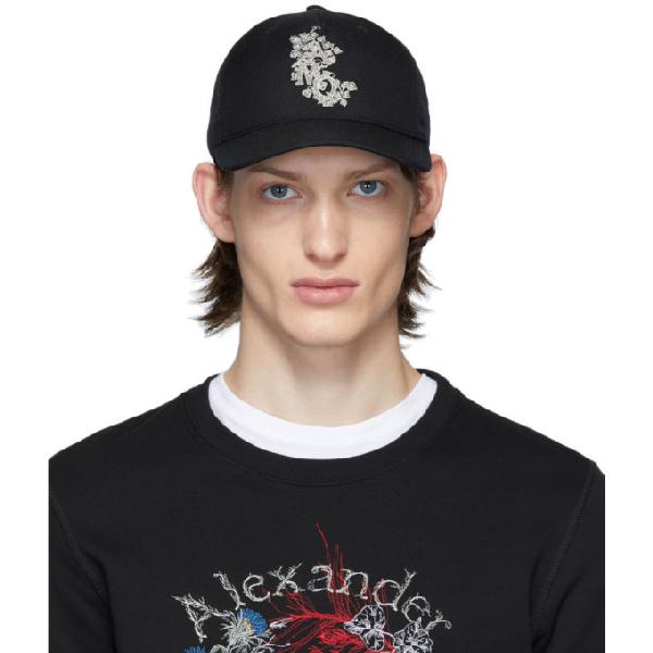 Alexander Mcqueen Embroidered Cotton Canvas Baseball Hat In 1078blkivry