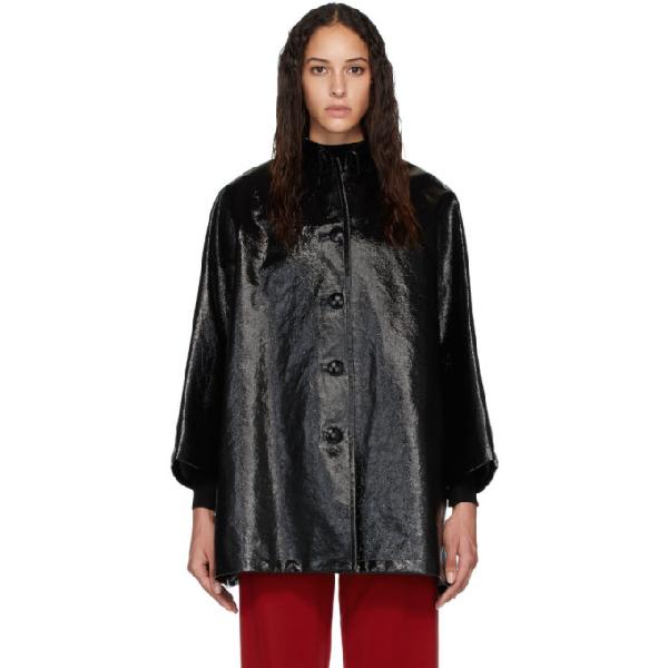 Balenciaga Coated Denim Buttoned Cocoon Jacket In 1000 Black