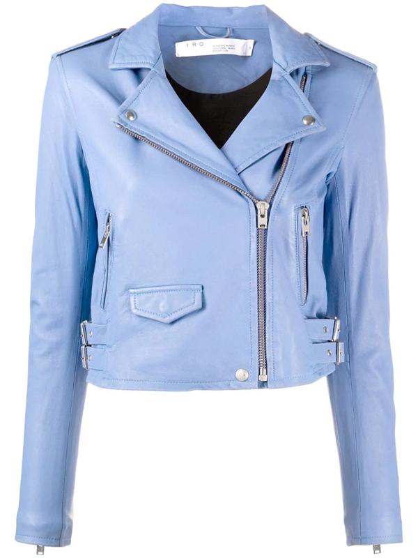 Iro Ashville Cropped Washed-leather Biker Jacket In Blue