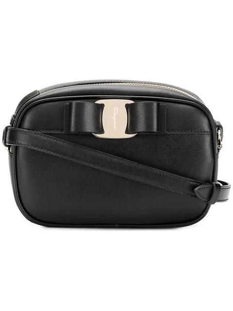 Salvatore Ferragamo Vara Leather Crossbody Bag In Black