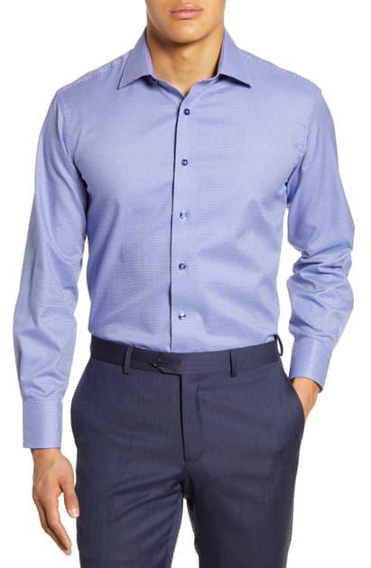 Lorenzo Uomo Trim Fit Dress Shirt In Midnight Blue