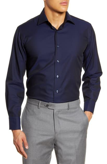 Lorenzo Uomo Trim Fit Dot Dress Shirt In Midnight Blue