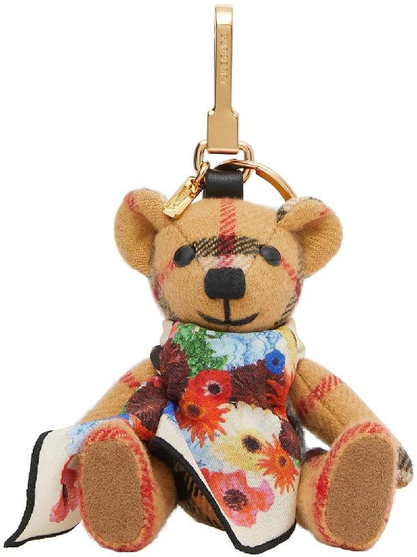 Burberry Thomas Bear Floral Scarf Cashmere Charm In Antiq Yello