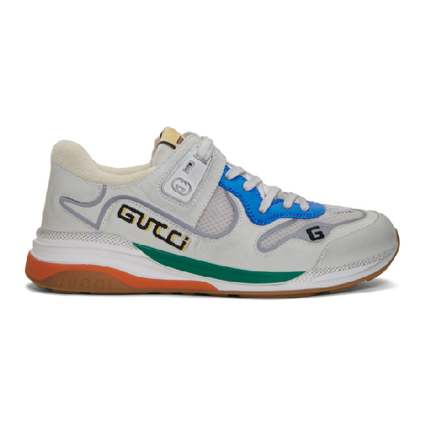 Gucci Ultrapace Panelled Leather, Mesh And Reflective-woven Trainers In Blue & Silver & White