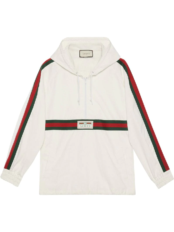Gucci Web Stripe Half-zip Technical-cotton Hooded Jacket In 白色