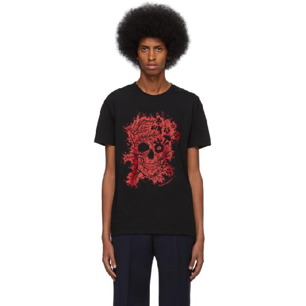 Alexander Mcqueen Foliage & Floral Skull-print Cotton T-shirt In 0901 Blkmix