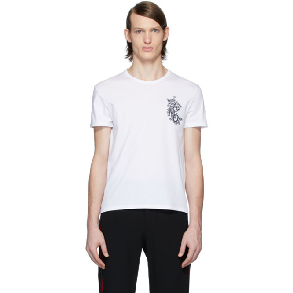 Alexander Mcqueen White Embroidered Floral Logo T-shirt In White Mix