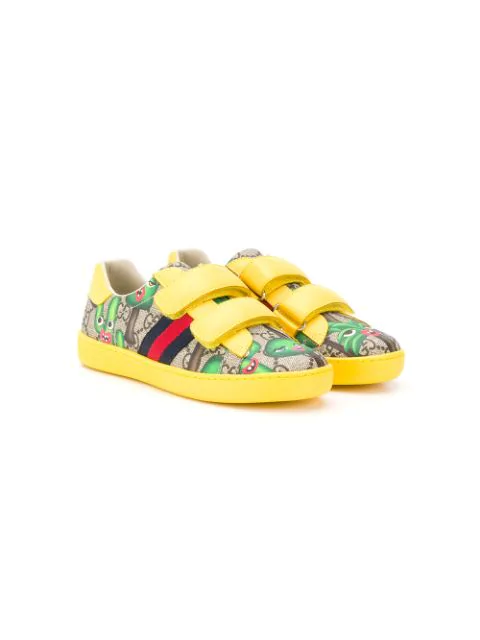 Gucci New Ace Gg Supreme Hearts-print Sneakers, Toddler/kids In Yellow
