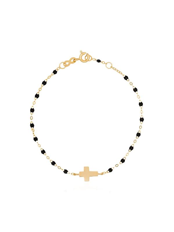 Gigi Clozeau 18k Yellow Gold Cross 17 Cm Beaded Bracelet In Black