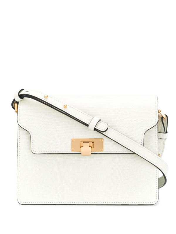 Marge Sherwood Lizard Embossed Leather Vintage Brick Shoulder Bag In White