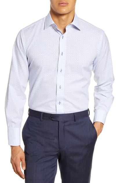 Lorenzo Uomo Trim Fit Plaid Dress Shirt In Sky Blue