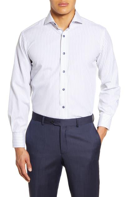 Lorenzo Uomo Trim Fit Stripe Dress Shirt In White/ Blue