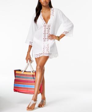 La Blanca Plus Size Island Fare Cotton Tunic Cover-up Women's Swimsuit In White