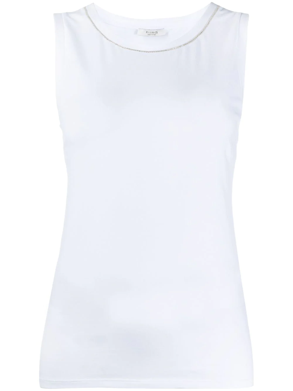 Peserico Stretch Slim Fit Tank Top In White
