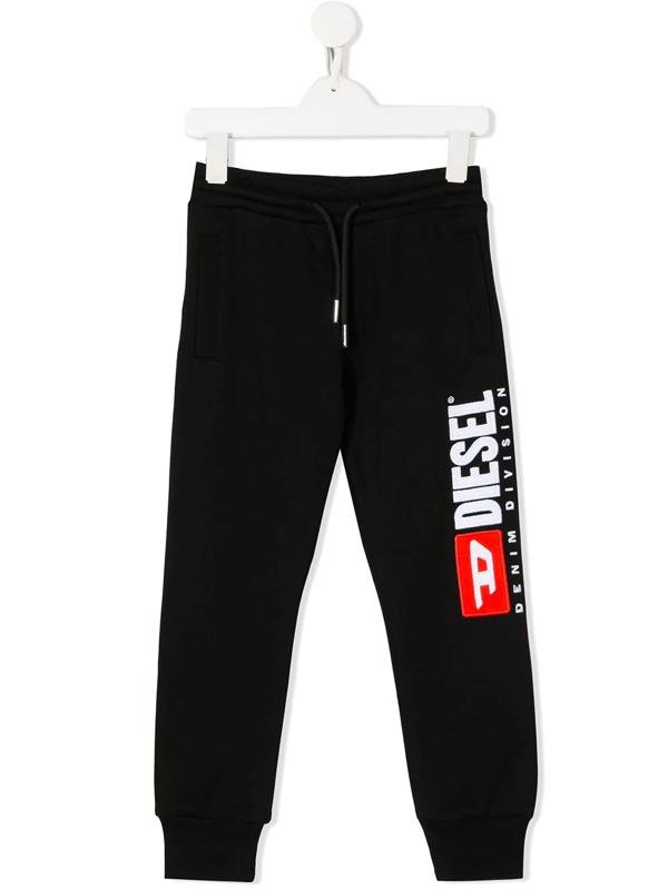 Diesel Kids' Logo Drawstring Track Trousers In Black