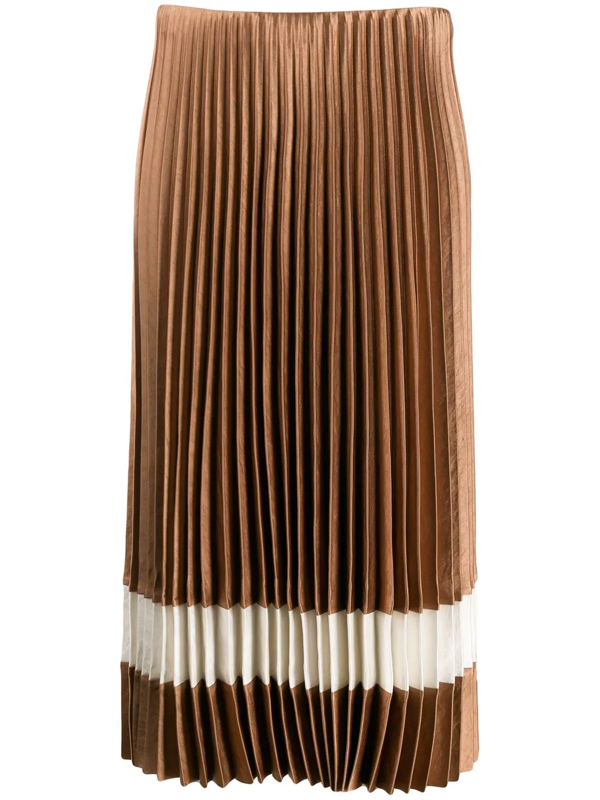 Theory Contrast Stripe Pleated Skirt In Neutrals