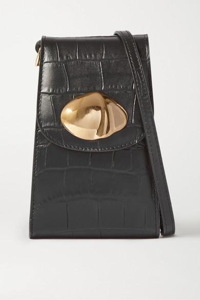 Little Liffner Camera Croc-embossed Leather Crossbody Bag In Black
