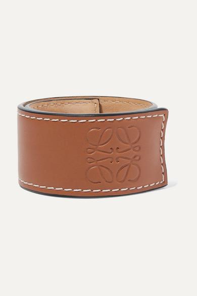Loewe Logo-debossed Leather Snap Bracelet In Tan