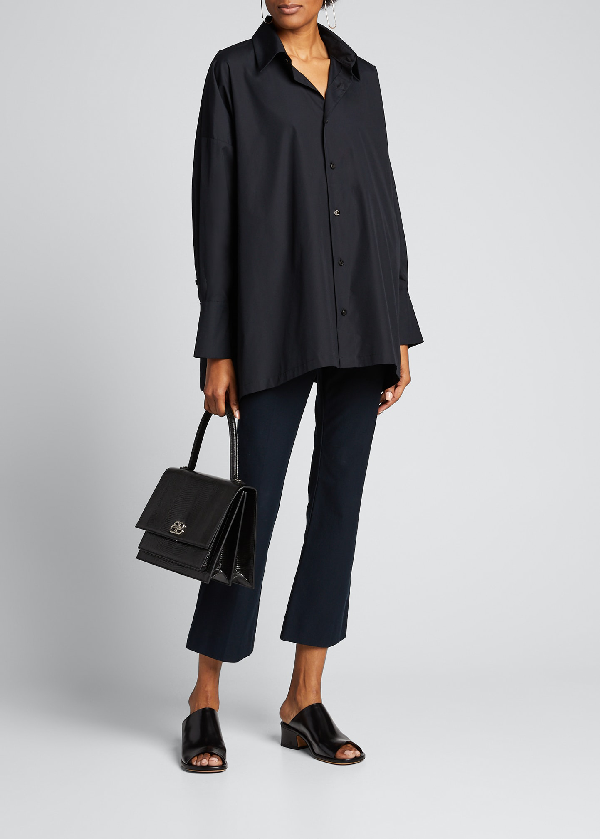 Eskandar Wide A-line Back Pleated Shirt In Black
