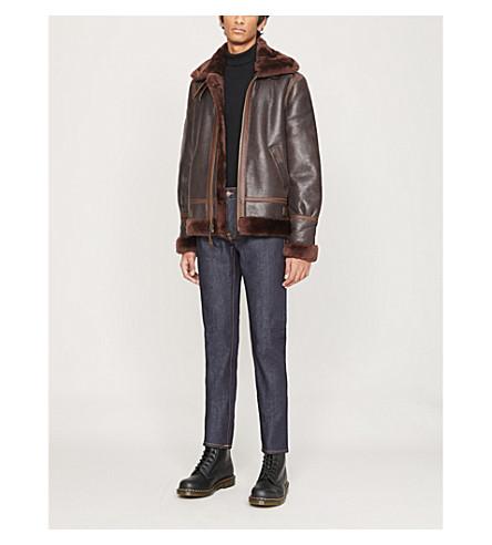 Schott Buckle-collar Sheepskin Leather Aviator Jacket In Brown